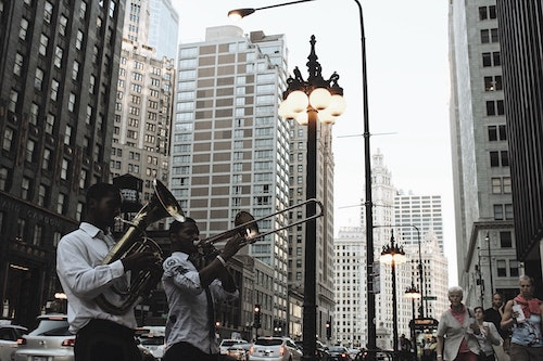 Band playing on Chicago street